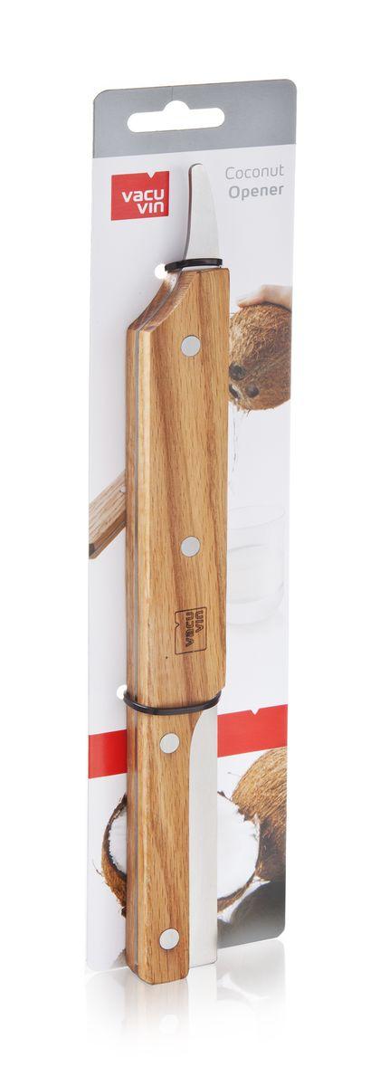 Устройство для открывания кокосов VacuVin Coconut Opener, длина 29 см4653560Устройство VacuVin Coconut Opener изготовлено из дерева и металла и предназначено для открывания кокоса. Изделие очень легко использовать. Сначала нужно сделать прокол острием ножа в месте с тонкой кожурой на торце кокоса и слить в стакан кокосовое молоко. Затем просто несколько раз ударить этим ножом кокосовый орех, поворачивая его. Это позволит разделить кокос на две равные половины и добраться до его мякоти. Внесите немого экзотики в свой домашний быт с помощью этого отличного приспособления! Не рекомендуется мыть в посудомоечной машине. Длина устройства: 29 см.