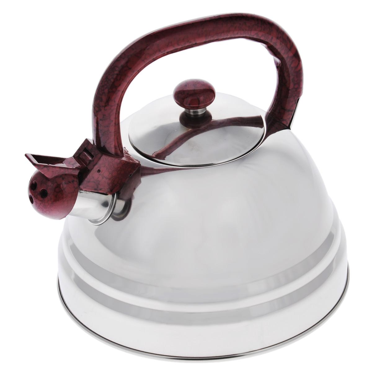Чайник Bekker Koch со свистком, цвет: бордовый, 3 л. ВК-S337ВК-S337бордовыйЧайник Bekker Koch выполнен из высококачественной нержавеющей стали, что обеспечивает долговечность использования. Внешнее зеркальное эмалевое покрытие придает приятный внешний вид. Фиксированная ручка из пластика делает использование чайника очень удобным и безопасным. Чайник снабжен свистком. Изделие оснащено капсулированным дном, что способствует медленному остыванию чайника. Можно мыть в посудомоечной машине. Высота чайника (без учета крышки и ручки): 12,5 см. Толщина стенки: 0,4 мм.