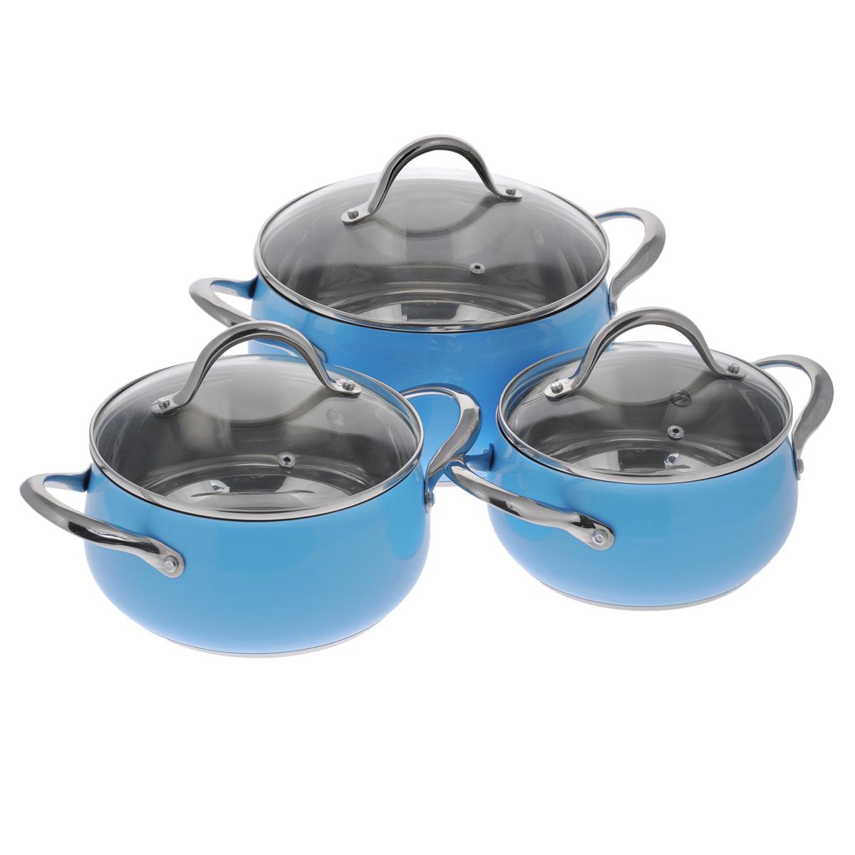 Набор посуды Winner, цвет: голубой, 6 предметов. WR-1103WR-1103В набор посуды Winner входят 3 кастрюли с крышками. Вся посуда выполнена из высококачественной нержавеющей стали 18/10, а идеально ровная внутренняя поверхность значительно облегчает мытье. Энергосберегающее, капсулированное дно быстро и равномерно распределяет тепло. Цветной корпус придает набору особо эстетичный внешний вид. Предметы набора оснащены двумя удобными ручками из нержавеющей стали. Крышки, выполненные из термостойкого стекла с ободком из нержавеющей стали и пароотводом, позволят вам следить за процессом приготовления пищи. Крышки плотно прилегают к краям посуды, предотвращая проливание жидкости и сохраняя аромат блюд. Подходит для газовых, электрических, стеклокерамических и индукционных плит. Можно мыть в посудомоечной машине. Набор посуды Winner - идеальный подарок для современных хозяек, которые следят за своим здоровьем и здоровьем своей семьи. Эргономичный дизайн и функциональность набора позволят вам наслаждаться процессом приготовления...