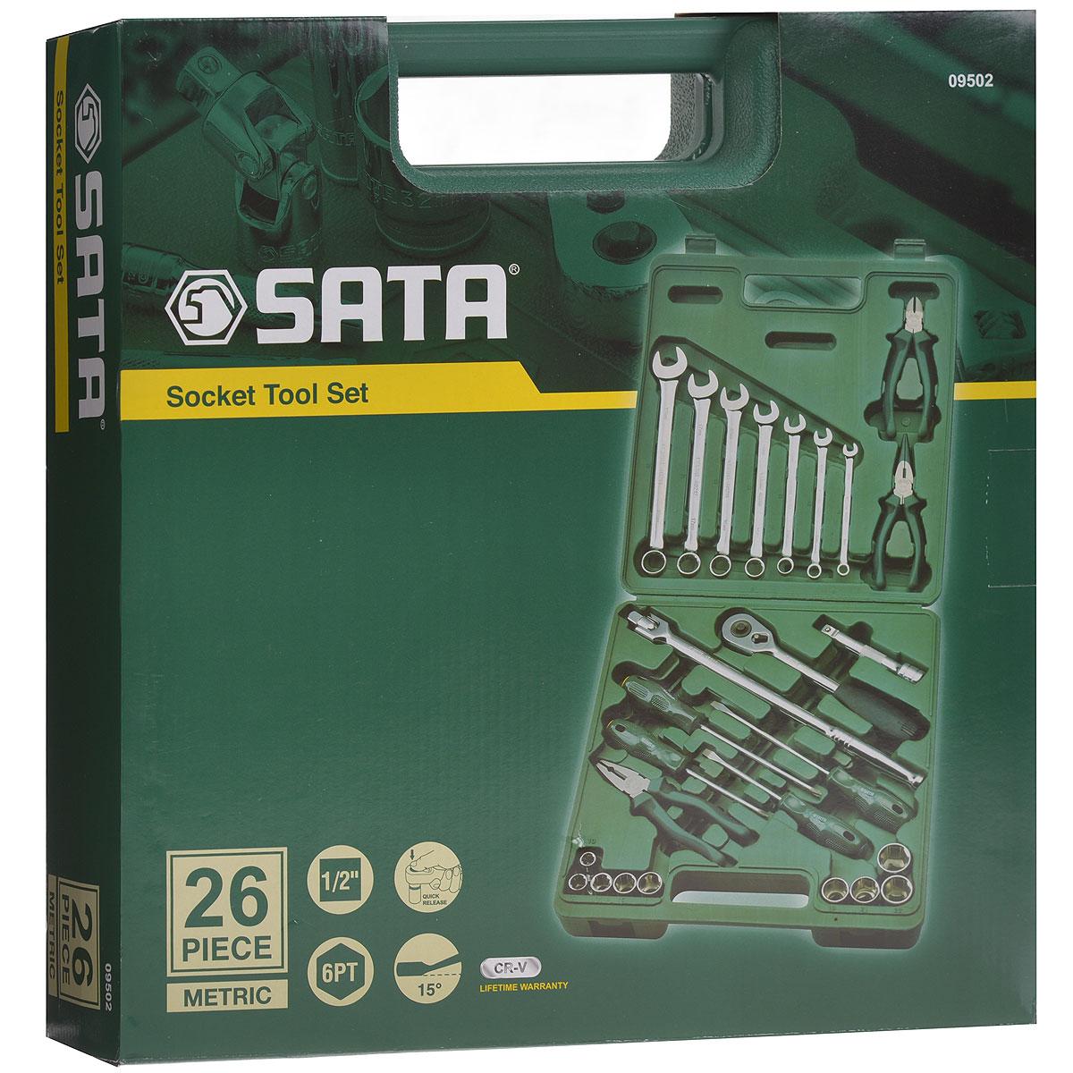 Набор инструментов SATA SATA 26 предметов. 0950209502Набор инструментов Sata - это необходимый предмет в каждом доме. Он включает в себя 26 предметов, которые умещаются в пластиковом кейсе. Такой набор будет идеальным подарком мужчине. Состав набора: Головки торцовые шестигранные 1/2: 10 мм, 12 мм, 14 мм, 16 мм, 17 мм, 19 мм, 21 мм, 22 мм, 24 мм. Ключи комбинированные: 8 мм, 10 мм, 12 мм, 14 мм, 16 мм, 17 мм, 19 мм. Ключ трещоточный 1/2. Удлинитель 1/2: 125 мм. Рычаг угловой 1/2: 260 мм. Отвертки Phillips: РН2 х 100 мм, РH2 х 150 мм. Отвертки шлицевые: 6 мм х 100 мм, 6 мм х 150 мм. Тонкогубцы: 150 мм. Бокорезы: 160 мм. Плоскогубцы: 180 мм.