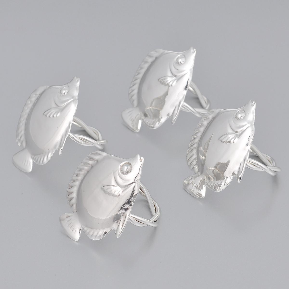 Набор колец для салфеток Marquis Рыбки, 4 шт3057-MRНабор Marquis Рыбки состоит из четырех оригинальных колец для салфеток, выполненных с простотой и изяществом. Кольца изготовлены из стали с серебряно-никелевым покрытием и украшены фигурками в виде рыбки. Набор станет замечательной деталью сервировки и великолепным украшением праздничного стола. Диаметр кольца: 4,5 см. Размер декоративной части: 6,5 см х 5 см.
