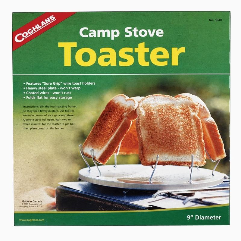 Тостер кемпинговый Coghlans, диаметр 23 см504DКемпинговый тостер Coghlans, изготовленный из металла, имеет оригинальную конструкцию. Представляет собой металлический диск с отверстиями посередине и четырьмя держателями для кусочков хлеба. Изделие можно использовать не только для приготовления хлебных, но и овощных тостов. Легкий и удобный в хранении и переноске тостер Coghlans станет незаменимым аксессуаром в туристическом походе. Диаметр тостера: 23 см.