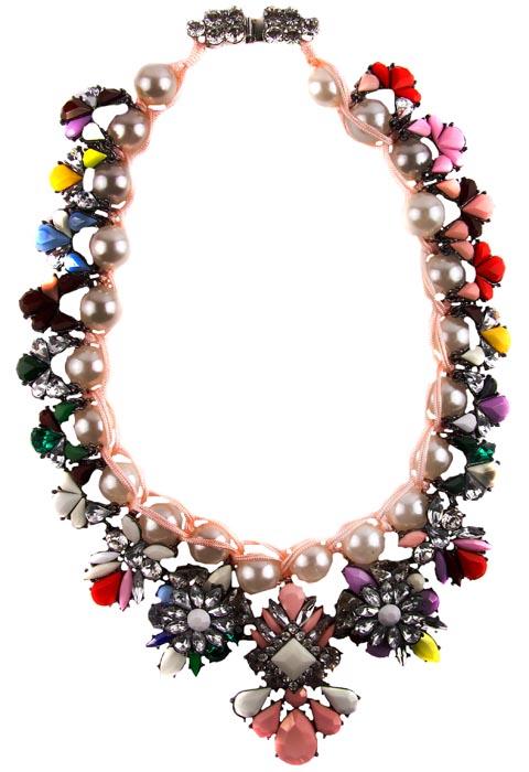 """Ожерелье """"Цветочное"""". Ювелирный сплав, австрийские кристаллы, искусственный жемчуг, пластик. Начало ХХI века"""