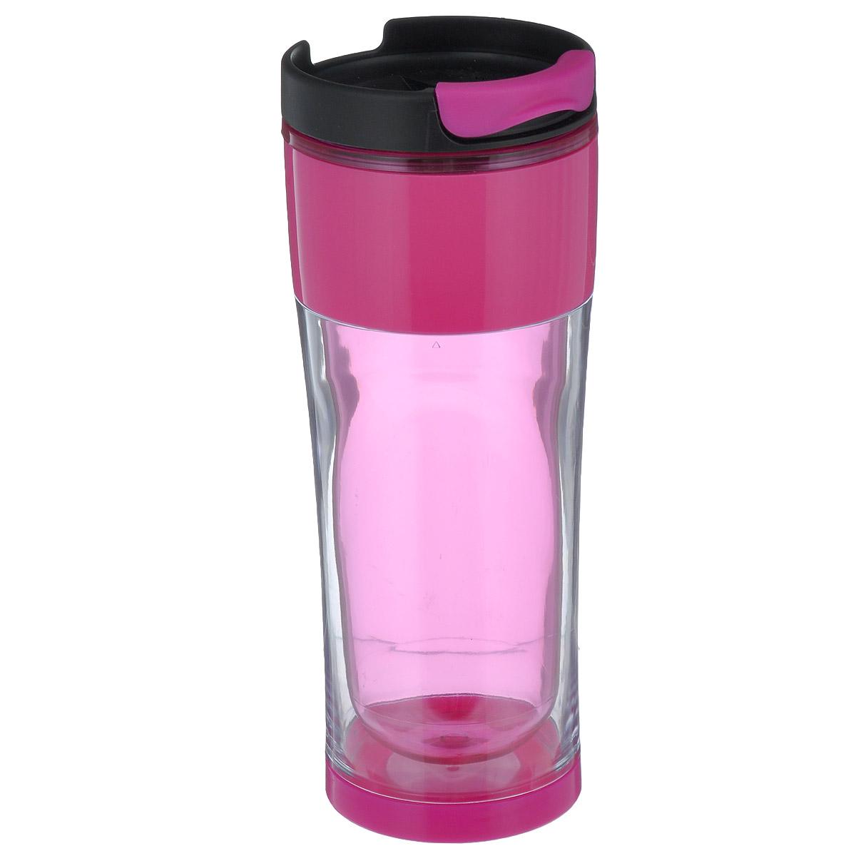 Кружка дорожная Cool Gear Design для горячих напитков, цвет: прозрачный, розовый, черный, 420 мл. 18731873Дорожная кружка Cool Gear Design изготовлена из высококачественного BPA-free пластика, не содержащего токсичных веществ. Двойные стенки дольше сохраняют напиток горячим и не обжигают руки. Надежная закручивающаяся крышка с защитой от проливания обеспечит дополнительную безопасность. Крышка оснащена клапаном для питья. Оптимальный объем позволит взять с собой большую порцию горячего кофе или чая. Идеально подходит для холодных напитков. Оригинальный дизайн, яркие, жизнерадостные цвета и эргономичная форма превращают кружку в стильный и функциональный аксессуар. Кружка идеальна для ежедневного использования. Она станет вашим неотъемлемым спутником в длительных поездках или занятиях зимними видами спорта. Не рекомендуется использовать в микроволновой печи и мыть в посудомоечной машине. Диаметр кружки по верхнему краю: 8 см. Высота кружки (с учетом крышки): 21 см.