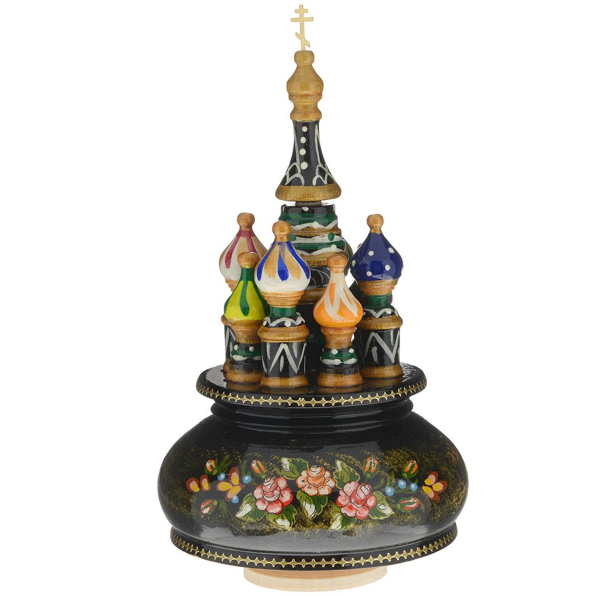 Фигурка декоративная Sima-land Храм, музыкальная, высота 21 см. 10799181079918Декоративная фигурка Sima-land Храм, выполненная из дерева в виде храма, покрыта лаком и оформлена красочными рисунками. Основание фигурки крутится и предназначено для завода музыкального механизма. Поверните основание фигурки, и она начнет медленно вращаться, и заиграет приятная мелодия. Декоративная музыкальна фигурка Sima-land Храм не оставит равнодушным ни одного любителя изысканных вещей и станет прекрасным подарком. Размер фигурки: 11 см х 11 см х 21 см.
