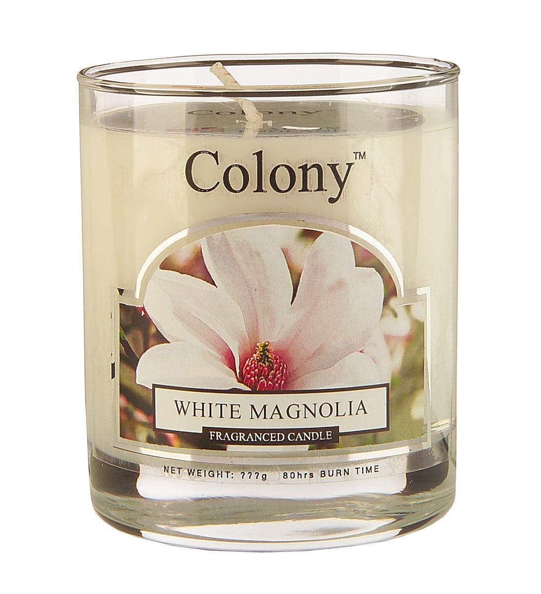 Wax Lyrical Белая магнолия ароматизированная свеча в стекле малая, 35 часовCH0604Аромат весенне-летнего букета из белых магнолий, роз, гардений, фрезий и сирени в сочетании с нотками спелых персиков, на основе сандала и мускуса
