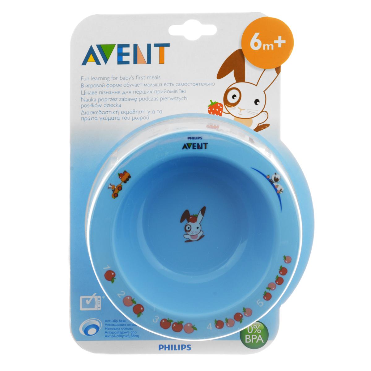 Глубокая тарелка Philips Avent, от 6 месяцев, цвет: голубой, 230 мл65636Тарелка Philips Avent выполнена из яркого полипропилена и оформлена веселыми и красочными развивающими рисунками. Нескользящее основание предотвращает скольжение и переворачивание тарелки. Удобные широкие края идеальны для самостоятельного питания ребенка. Тарелку можно мыть в посудомоечной машине и разогревать в микроволновой печи.