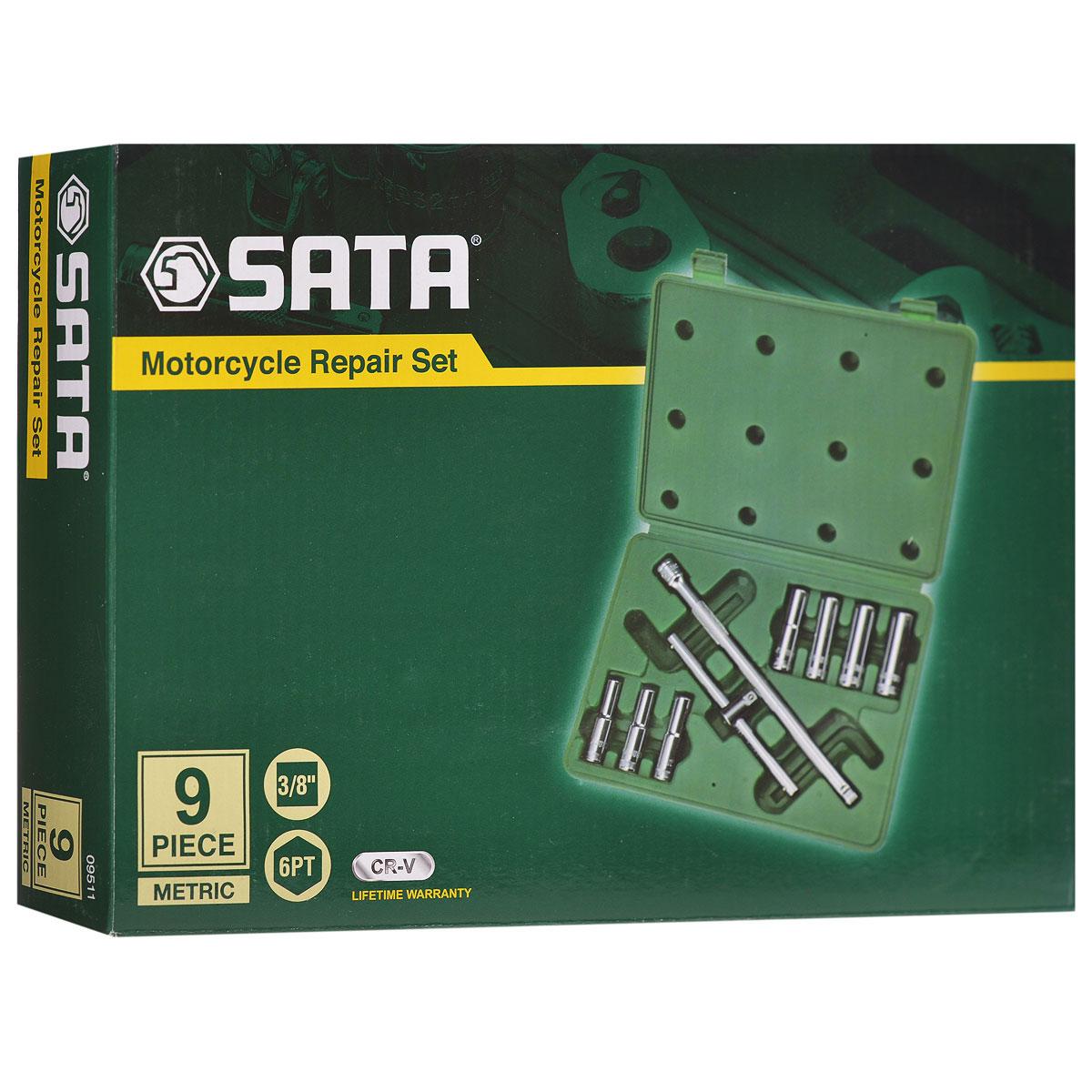 Набор торцевых головок SATA 9пр. 95119511Набор удлиненных торцевых головок Sata предназначен для монтажа/демонтажа резьбовых соединений. Все инструменты набора выполнены из высококачественной хромованадиевой стали. В комплекте пластиковый кейс для переноски и хранения. Состав набора: Головки удлиненные шестигранные торцевые: 8 мм, 9 мм, 10 мм, 11 мм, 12 мм, 13 мм, 14 мм. Вороток со скользящей перекладиной. Отклоняемый удлинитель длиной 10 дюймов.