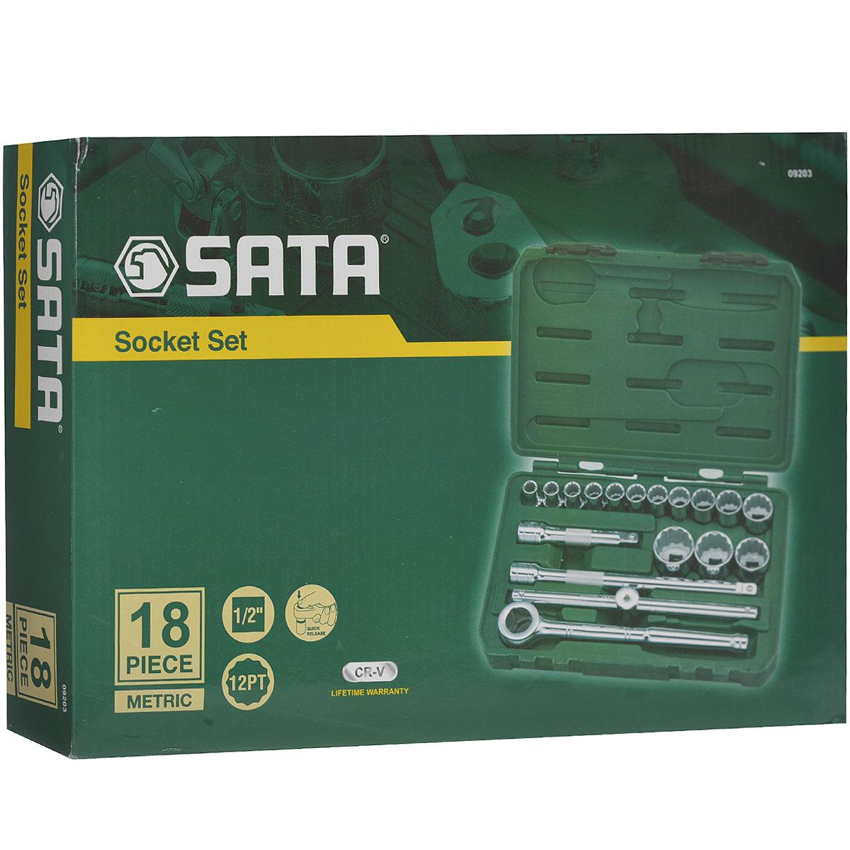 Набор торцевых головок SATA 18пр. 0920309203Набор инструментов Sata - это необходимый предмет в каждом доме. Он включает в себя 18 предметов, и упакован в удобный пластиковый кейс. Такой набор будет идеальным подарком мужчине. Преимуществом любого набора марки SATA является то, что любую его составляющую вы можете приобрести отдельно. Состав набора: головки торцевые 1/2 12 граней: 10 мм, 11 мм, 12 мм, 13 мм, 14 мм, 15 мм, 16 мм, 17 мм, 19 мм, 21 мм, 24 мм, 27 мм, 30 мм, 32 мм; ключ трещоточный дисковый 1/2; удлинители 1/2: 125 мм, 250 мм; вороток скользящий 1/2.