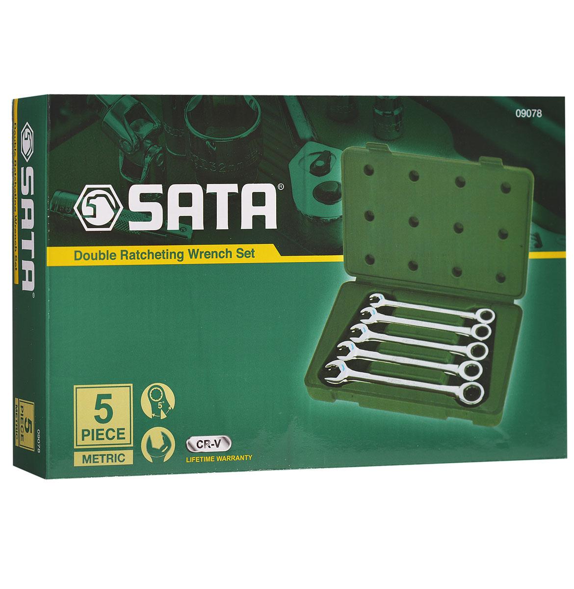Набор ключей SATA 5пр. 0907809078Метрические комбинированные укороченные ключи Sata с реверсивным трещоточным механизмом предназначены для монтажа/демонтажа резьбовых соединений. Инструменты выполнены из высококачественной хромованадиевой стали. В комплекте пластиковый кейс для переноски и хранения. В набор входят ключи размером: 10 мм, 11 мм, 12 мм, 13 мм, 14 мм.