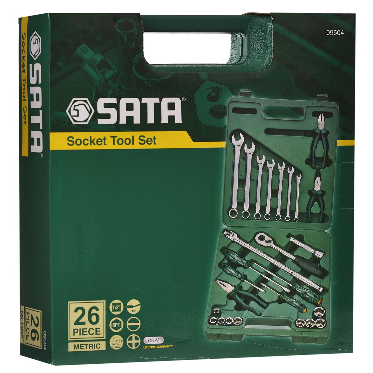 Набор инструментов SATA 26пр. 0950498293777Набор инструментов Sata - это необходимый предмет в каждом доме. Он включает в себя 26 предметов, которые умещаются в небольшом пластиковом кейсе. Такой набор будет идеальным подарком мужчине.Состав набора:Головки торцовые шестигранные 1/2: 10 мм, 12 мм, 13 мм, 14 мм, 17 мм, 19 мм, 21 мм, 22 мм, 24 мм.Ключи комбинированные: 8 мм, 10 мм, 12 мм, 14 мм, 16 мм, 17 мм, 19 мм.Ключ трещоточный 1/2.Удлинитель 1/2: 125 мм. Рычаг угловой 1/2: 260 мм.Отвертки Phillips: РН1 х 75 мм, РH2 х 150 мм.Отвертки шлицевые: 5 мм х 75 мм, 6 мм х 150 мм.Тонкогубцы: 150 мм.Бокорезы: 160 мм.Плоскогубцы: 180 мм.