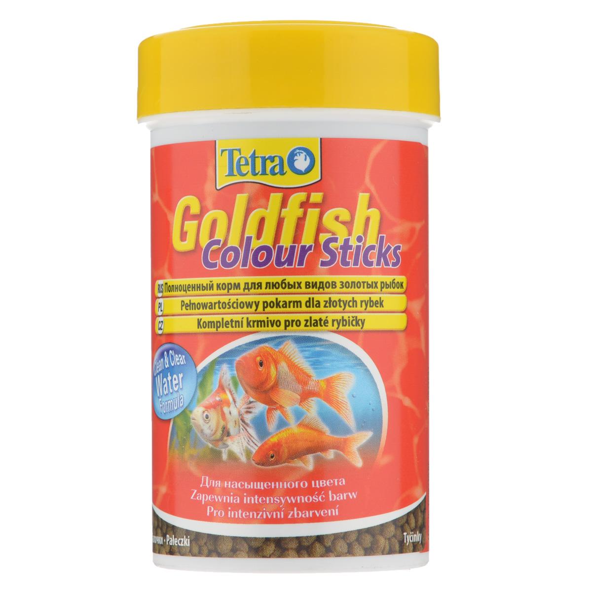 Корм сухой Tetra Goldfish Colour Sticks для любых видов золотых рыбок, в виде палочек, 100 мл0120710Корм Tetra Goldfish Colour Sticks - это высококачественный сбалансированный питательный корм для любых видов золотых рыбок. Превосходное качество корма - гарантия лучшего для ваших золотых рыбок. Особенности Tetra Goldfish Colour Sticks:усилители цвета обеспечивают яркую и интенсивную окраску,формула Clean & Clean Water и запатентованная формула BioActive - для поддержания здоровья и продолжительности жизни. Рекомендации по кормлению: кормить несколько раз в день маленькими порциями. Характеристики: Состав: рыба и побочные рыбные продукты, экстракты растительного белка, зерновые культуры, растительные продукты, овощи, дрожжи, моллюски и раки, масла и жиры, водоросли (спирулина максима 6,0%), минеральные вещества.Пищевая ценность: сырой белок - 30%, сырые масла и жиры - 6%, сырая клетчатка - 2,0%, влага - 8%.Добавки: витамины, провитамины и химические вещества с аналогичным воздействием: витамин А 30000 МЕ/кг, витамин Д3 1870 МЕ/кг. Комбинации элементов: Е5 Марганец 81 мг/кг, Е6 Цинк 48 мг/кг, Е1 Железо 32 мг/кг, Е3 Кобальт 0,6 мг/кг. Красители, консерванты, антиоксиданты. Вес: 100 мл (30 г).