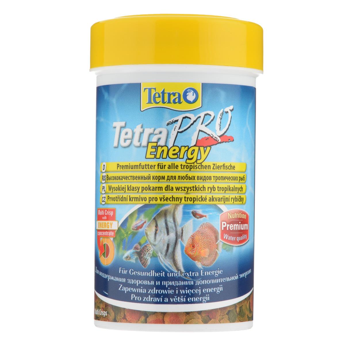 Корм сухой TetraPro Energy для всех видов тропических рыб, в виде чипсов, 250 мл0120710Полноценный высококачественный корм Tetra TetraPro. Energy для всех видов тропических рыб разработан для поддержания здоровья и придания дополнительной энергии. Особенности Tetra TetraPro. Energy:- щадящая низкотемпературная технология изготовления обеспечивает высокую питательную ценность и стабильность витаминов;- энергетический концентрат для дополнительной энергии;- инновационная форма чипсов для минимального загрязнения воды отходами; - легкое кормление. Рекомендации по кормлению: кормить несколько раз в день маленькими порциями. Состав: рыба и побочные рыбные продукты, зерновые культуры, экстракты растительного белка, дрожжи, моллюски и раки, масла и жиры, водоросли, сахар.Аналитические компоненты: сырой белок - 46%, сырые масла и жиры - 12%, сырая клетчатка - 2,0%, влага - 9%.Добавки: витамины, провитамины и химические вещества с аналогичным воздействием: витамин А 29880 МЕ/кг, витамин Д3 1865 МЕ/кг, Л-карнитин 123 мг/кг. Комбинации элементов: Е5 Марганец 67 мг/кг, Е6 Цинк 40 мг/кг, Е1 Железо 26 мг/кг, Е3 Кобальт 0,6 мг/кг. Красители, консерванты, антиоксиданты. Товар сертифицирован.