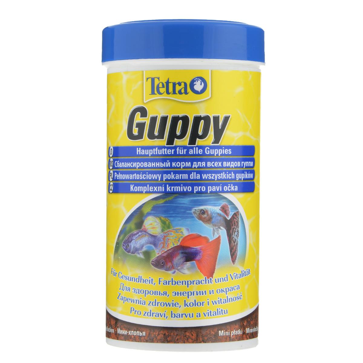 Корм Tetra Guppy для всех видов гуппи, в виде мини-хлопьев, 250 мл0120710Корм Tetra Guppy - это высококачественный сбалансированный питательный корм в виде мини-хлопьев для всех видов гуппи, а также для других живородящих аквариумных рыб. Особенности Tetra Guppy:мини-хлопья изготовлены специально для маленьких ртов гуппи и других живородящих рыб,высокое содержание растительных ингредиентов и минералов для улучшения вкусовых качеств и роста,усилители окраса для ярких цветов. Рекомендации по кормлению: кормить несколько раз в день маленькими порциями. Характеристики: Состав: экстракты растительного белка, зерновые культуры, дрожжи, моллюски и раки, масла и жиры, водоросли, сахар, минеральные вещества.Пищевая ценность: сырой белок - 45%, сырые масла и жиры - 8%, сырая клетчатка - 4,0%, влага - 8%.Добавки: витамины, провитамины и химические вещества с аналогичным воздействием: витамин А 27800 МЕ/кг, витамин Д3 850 МЕ/кг. Красители, антиоксиданты. Вес: 250 мл (75 г).Товар сертифицирован.