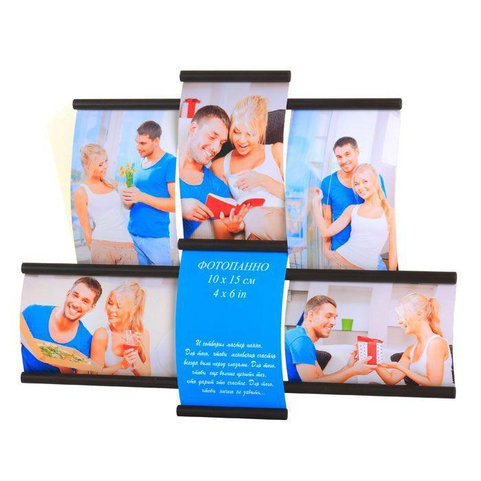 Фотопанно настенное Эврика, на 6 фото, 10 см х 15 см. 9424794247Настенное фотопанно Эврика представляет собой деревянную пластину-основание, к которой прикреплены 4 вертикальные и 2 горизонтальные рамочки. Фотография закрывается защитной пластиковой вставкой и имеет выпуклую форму. В задней части имеется отверстие для крепления панно на стене. В комплекте прилагается шуруп и дюбель. Настенное фотопанно создан для того, чтобы мгновения счастья всегда были перед глазами, чтобы еще больше ценить тех, кто дарит это счастье, чтобы ничего не забыть... Характеристики: Материал: дерево, пластик. Размер фотопанно: 41 см х 32 см х 3 см. Размер рамочек: 15 см х 11 см, 10 см х 16 см. Количество фотографий: 6 шт. Размер фотографий: 10 см х 15 см, 15 см х 10 см. Артикул: 94247.