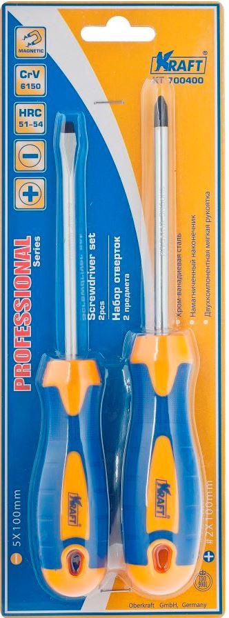 Набор отверток Kraft Professional, 2 шт80621Набор отверток Kraft Professional предназначен для монтажа и демонтажа резьбовых соединений. Инструменты выполнены из высококачественной хромованадиевой стали. Отвертки оснащены намагниченным наконечником и двухкомпонентной мягкой рукояткой, обеспечивающей надежный и удобный хват.В набор входят отвертки SL5 x 100 мм, PH2 x 100 мм.Общая длина отверток: 20,5 см, 20 см.