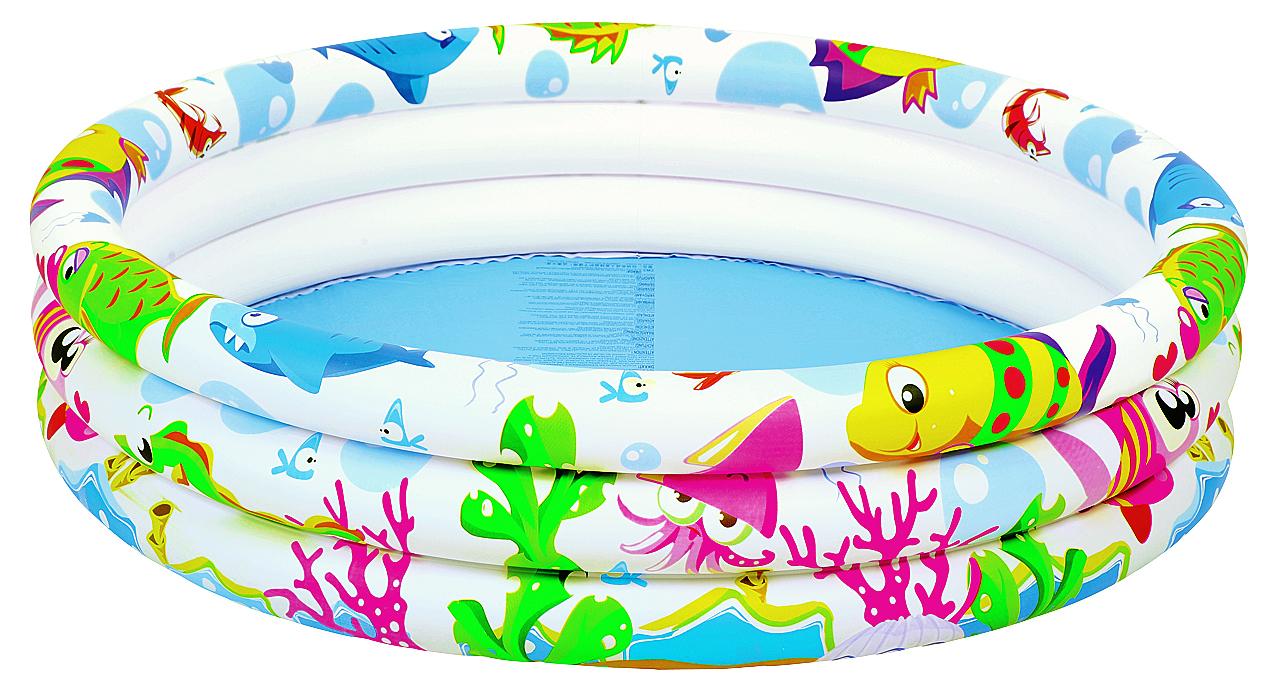 Бассейн надувной Jilong Sea World, 107 см х 25 см09840-20.000.00Круглый надувной бассейн Jilong Sea World идеально предназначен для детского и семейного отдыха на загородном участке. Отлично подойдет для детей от 2 до 6 лет. Бассейн изготовлен из прочного ПВХ. Состоит из 3 колец одинакового размера. На внешней стороне имеется принт.Комфортный дизайн бассейна и приятная цветовая гамма сделают его не только незаменимым атрибутом летнего отдыха, но и оригинальным дополнением ландшафтного дизайна участка. В комплект с бассейном входит заплатка для ремонта в случае прокола.