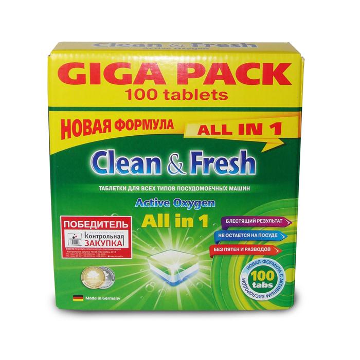 Таблетки для посудомоечных машин Clean & Fresh All in 1, с ароматом лимона, 100 шт16211Применение таблеток Clean & Fresh All in 1 облегчает использование посудомоечных машин. Дополнительные вещества, входящие в состав таблеток защищают машину от образования накипи на нагревательных элементах, способствуют лучшему результату при мытье посуды, существенно экономят ваше время. Удаляют даже самые сильные загрязнения. Таблетки Clean & Fresh All in 1 имеют четыре цветных слоя: зеленый - для лимонного запаха и защиты стекла от коррозии, синие микро-жемчужины - для блестящей посуды и сияющего стекла, белый - для защиты посудомоечной машины от образования накипи и наслоений извести, синий - сила очистки с активным кислородом. Достаточно поместить одну таблетку в дозатор посудомоечной машины и посуда приобретает идеальную чистоту и свежесть, без разводов и известковых пятен. Вес одной таблетки: 20 г. Количество таблеток в упаковке: 100 шт. Общий вес упаковки: 2 кг. Состав таблеток: триполифосфат натрия -...