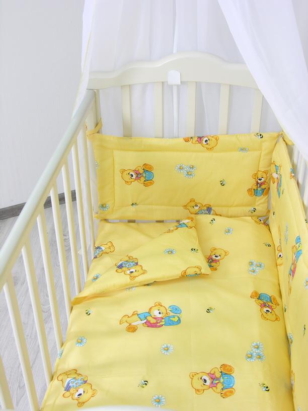 Комплект в кроватку ФЕЯ Мишки 6 предметов, желтый1063-3