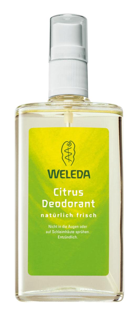 Weleda Дезодорант цитрусовый 100мл9707Цитрусовый дезодорант Weleda подарит вам бодрящее ощущение фруктового лимонного бриза. Натуральные цитрусовые эфирные масла оказывают мягкое дезодорирующее действие и создают приятное ощущение свежести и хорошего самочувствия. 100% натуральный дезодорант естественным способом предотвращает появление неприятного запаха, не закупоривая поры и не нарушая естественных функций кожи. ? Действует исключительно благодаря природным компонентам ? Эффективность и переносимость кожей подтверждены дерматологическими тестами ? Не содержит синтетических ароматизаторов, красителей и консервантов. ? Не содержит алюминия и фталатов. ? Во время производства не проводились опыты на животных ? Не содержит ароматов животного происхождения Способ применения: распылять дезодорант на растоянии 10-15 см на сухую и чистую кожу под мышками. При необходимости в течение дня можно повторить применение. Избегать попадания в глаза и на слизистые оболочки. Воспламеняющийся