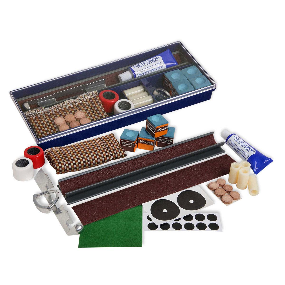Набор для ремонта кия Fortuna Cue Repair Kit RT-350332515-2800Комплект для ремонта кия Fortuna Cue Repair Kit RT-350 включает в себя все, что необходимо для поддержания кия в рабочем состоянии. В комплект для ремонта кия входят:Мел Pioneer, синий - 4 шт.Муфта абразивная для обработки шафта - 1 шт.Фиксатор для приклеивания наклейки - 1 шт.Инструмент для обработки наклейки - 2 шт.Триммер STD-5 - 1 шт.Сменный абразив для триммера - 1 шт.12 мм втулки для кия - 2 шт.13 мм втулки для кия - 2 шт.Наклейки 12 мм - 3 шт.Наклейки 13 мм - 3 шт.35 мм самоклеящаяся метка - 2 шт.12 мм самоклеящаяся метка - 12 шт.Клей для наклеек, 20 г - 1 шт.Лента для ремонта сукна (7 х 7 см) - 1 шт.Пластиковый контейнер (24 х 10 х 3 см) - 1 шт.