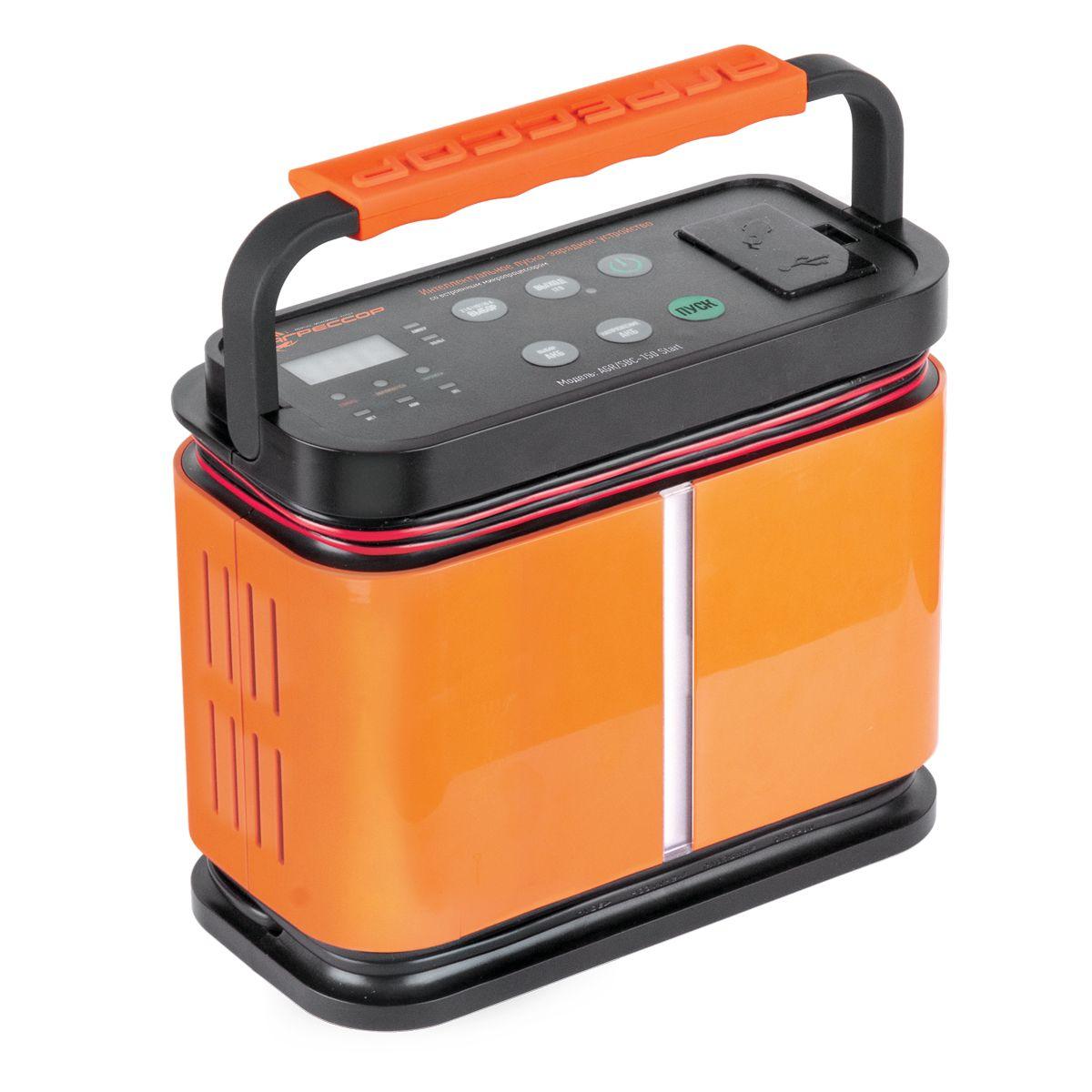 Устройство зарядное цифровое Autoprofi Агрессор AGR/SBC-150 Start, 9 фаз зарядки, ток 2/6/10/15 АAGR/SBC-150 StartЗарядное устройство Autoprofi Агрессор AGR/SBC-150 Start компактно и эргономично: все провода помещаются в специальных нишах, ручка складывается, размеры позволяют без труда разместить его в автомобиле или гараже. Устройство подходит для зарядки всех типов свинцово-кислотных батарей напряжением 12 В. Кроме того, оно заряжает электронные устройства (смартфоны, телефоны, фотоаппараты, плееры и пр.) через встроенные USB- порт или сеть 12 В. Устройство имеет усовершенствованную 9-ступенчатую систему зарядки и встроенный микропроцессор. Это, соответственно, сокращает время зарядки, обеспечивает безопасность и защиту от ошибок. Функция 5-минутной зарядки позволяет устройству быстро передать на батарею заряд, необходимый для запуска двигателя. Есть возможность выбрать оптимальную силу тока, установив один из четырех режимов: 2/ 6/ 10/ 15 А. Для оптимальной зарядки аккумуляторной батареи, в устройстве предусмотрена возможность установить тип АКБ: WET (жидкостный электролит), AGM...
