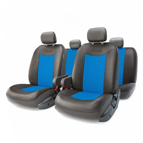 Авточехлы Autoprofi Grand Full, цвет: черный, синий, 13 предметов. Размер MGND-1305GF BK/BLАвтомобильные чехлы Autoprofi Grand Full изготавливаются из высококачественной экокожи с перфорированными цветными вставками. Мягкие и дышащие, чехлы являются отличным дополнением салона любого автомобиля. Изделия выполнены в классическом дизайне и придают автомобильному интерьеру современные и солидные черты. Полиуретановое покрытие искусственной кожи чехлов устойчиво к солнечным лучам, механическому воздействию и растяжению, благодаря чему чехлы отличаются продолжительным сроком эксплуатации. Чехлы из экокожи выглядят стильно в салоне любого автомобиля. На вид чехлы неотличимы от кожаных. Они хорошо скрывают уже имеющиеся дефекты кресла. Универсальная конструкция подходит для большинства автомобильных сидений. Подходят для автомобилей с боковыми подушками безопасности (распускаемый шов). Комплектация: 5 подголовников, 2 подлокотника, 2 спинки переднего ряда, 2 сиденья переднего ряда, 1 спинка заднего ряда, 1 сиденье заднего ряда. ...
