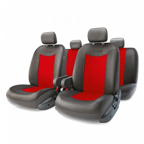 Авточехлы Autoprofi Grand Full, цвет: черный, красный, 13 предметов. Размер MGND-1305GF BK/RDАвтомобильные чехлы Autoprofi Grand Full изготавливаются из высококачественной экокожи с перфорированными цветными вставками. Мягкие и дышащие, чехлы являются отличным дополнением салона любого автомобиля. Изделия выполнены в классическом дизайне и придают автомобильному интерьеру современные и солидные черты. Полиуретановое покрытие искусственной кожи чехлов устойчиво к солнечным лучам, механическому воздействию и растяжению, благодаря чему чехлы отличаются продолжительным сроком эксплуатации. Чехлы из экокожи выглядят стильно в салоне любого автомобиля. На вид чехлы неотличимы от кожаных. Они хорошо скрывают уже имеющиеся дефекты кресла. Универсальная конструкция подходит для большинства автомобильных сидений. Подходят для автомобилей с боковыми подушками безопасности (распускаемый шов). Комплектация: 5 подголовников, 2 подлокотника, 2 спинки переднего ряда, 2 сиденья переднего ряда, 1 спинка заднего ряда, 1 сиденье заднего ряда. ...