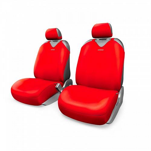 Чехлы-майки Autoprofi R1 - Sport Plus, цвет: красный, 4 предметаR-402Pf RDЧехлы-майки Autoprofi R1 - Sport Plus выполнены в спортивном стиле, который придает салону яркие и динамичные черты. Широкая гамма расцветок чехлов позволяет подобрать их к любому автомобильному интерьеру. Эластичный полиэстер изделий плотно облегает поверхность кресел, не выцветает на солнце и не электризуется. Модель авточехлов-маек оснащена полностью закрытой нижней частью сидений, которая делает чехлы более практичными и износостойкими. Форма чехлов в виде маек позволяет легко и быстро надевать их на кресла любого типа, не прибегая к демонтажу подголовников и подлокотников. Комплектация: 2 чехла для кресел переднего ряда, 2 подголовника.