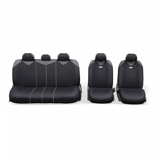 Чехлы-майки Autoprofi R1 - Sport Plus Zippers, цвет: черный, 9 предметовR-902PZ BKЧехлы-майки Autoprofi R1 - Sport Plus Zippers выполнены в спортивном стиле, который придает салону яркие и динамичные черты. Широкая гамма расцветок чехлов позволяет подобрать их к любому автомобильному интерьеру. Эластичный полиэстер изделий плотно облегает поверхность кресел, не выцветает на солнце и не электризуется. В креслах заднего ряда расположено 6 молний. Модель авточехлов-маек оснащена полностью закрытой нижней частью сидений, которая делает чехлы более практичными и износостойкими. Форма чехлов в виде маек позволяет легко и быстро надевать их на кресла любого типа, не прибегая к демонтажу подголовников и подлокотников. Комплектация: 2 чехла кресел переднего ряда, 1 спинка заднего ряда, 1 сиденье заднего ряда, 5 подголовников. Толщина поролона: 2 мм.