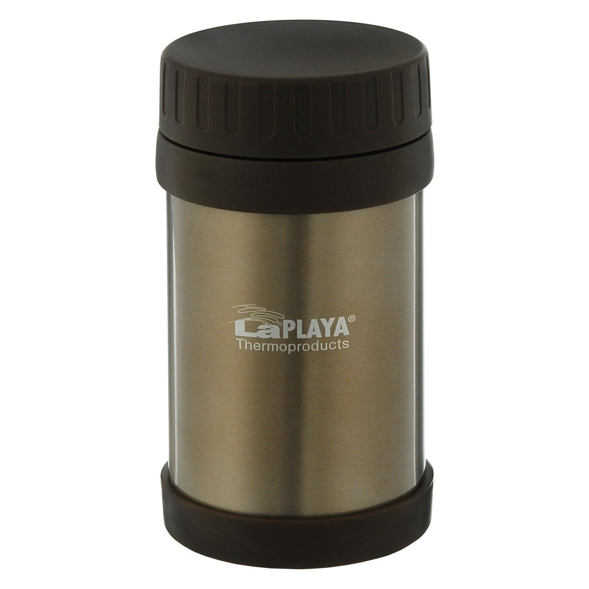 Термос для еды LaPlaya Food Container, цвет: коричневый, 500 мл560084Корпус термоса LaPlaya Food Container изготовлен из высококачественной нержавеющей стали с двумя стенками и превосходной вакуумной изоляцией. Термос оснащен крышкой, благодаря которой сохраняется абсолютная герметичность. Изделие имеет большое горлышко, поэтому идеально подходит для салатов, закусок, первых и вторых блюд. Такой термос удобен в использовании и станет полезным подарком. Нельзя мыть в посудомоечной машине. Диаметр (по верхнему краю): 7 см. Диаметр основания: 8,5 см. Высота (без учета крышки): 15,5 см.