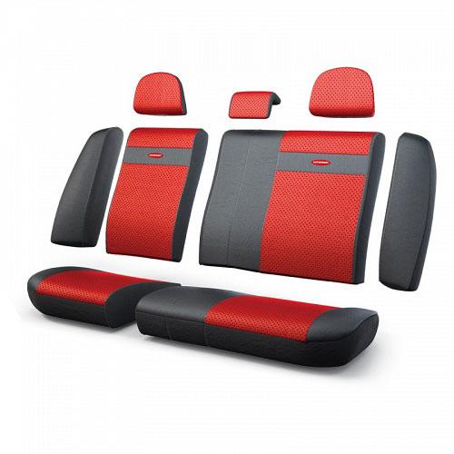 Авточехлы Autoprofi Трансформер, экокожа, цвет: черный, красный, 13 предметовTRS-002G BK/RDЧехлы Autoprofi Трансформер - новая модель автомобильных чехлов. Главной особенностью их стала модульная конструкция, благодаря которой можно укомплектовать 5-, 7- или 8-местный автомобиль. Запатентованная конструкция чехлов с молниями и торцевыми клапанами позволит их адаптировать в автомобилях с любым кузовом - седана, минивена, кроссовера, внедорожника или универсала. При этом специальные клапаны закрывают торцы спинок и подлокотников, позволяя их складывать и обеспечивая плотное прилегание даже на нестандартных креслах. Немаловажно, что данная серия чехлов на автомобильное сиденье оснащена распускаемым боковым швом, что позволяет их использовать в автомобилях с боковой подушкой безопасности. Выполнены из экокожи. Из прежних наработок, полюбившихся автомобилистам, в данных чехлах сохранилось крепление крючками и липучками, которые прочно фиксируют чехлы на сиденье. Чехлы для переднего ряда серии Трансформер сочетаются со всеми чехлами заднего ряда этой серии. ...