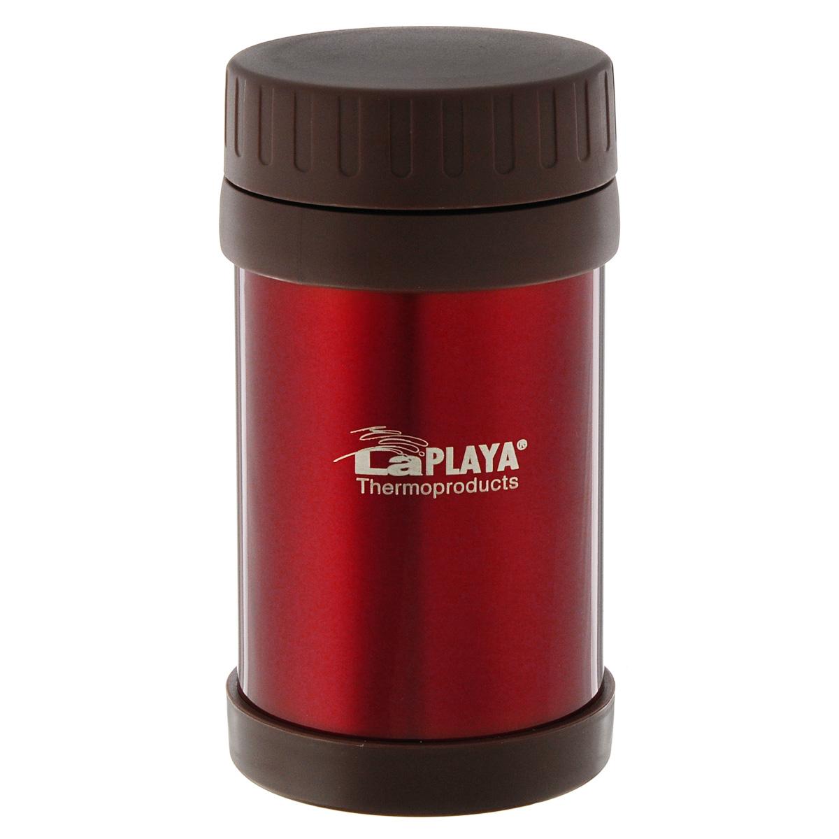 Термос для еды LaPlaya Food Container, цвет: красный, 500 мл115610Корпус термоса LaPlaya Food Container изготовлен из высококачественной нержавеющей стали с двумя стенками и превосходной вакуумной изоляцией. Термос оснащен крышкой, благодаря которой сохраняется абсолютная герметичность. Изделие имеет большое горлышко, поэтому идеально подходит для салатов, закусок, первых и вторых блюд.Такой термос удобен в использовании и станет полезным подарком. Нельзя мыть в посудомоечной машине. Диаметр (по верхнему краю): 7 см. Диаметр основания: 8,5 см. Высота (без учета крышки): 15,5 см.