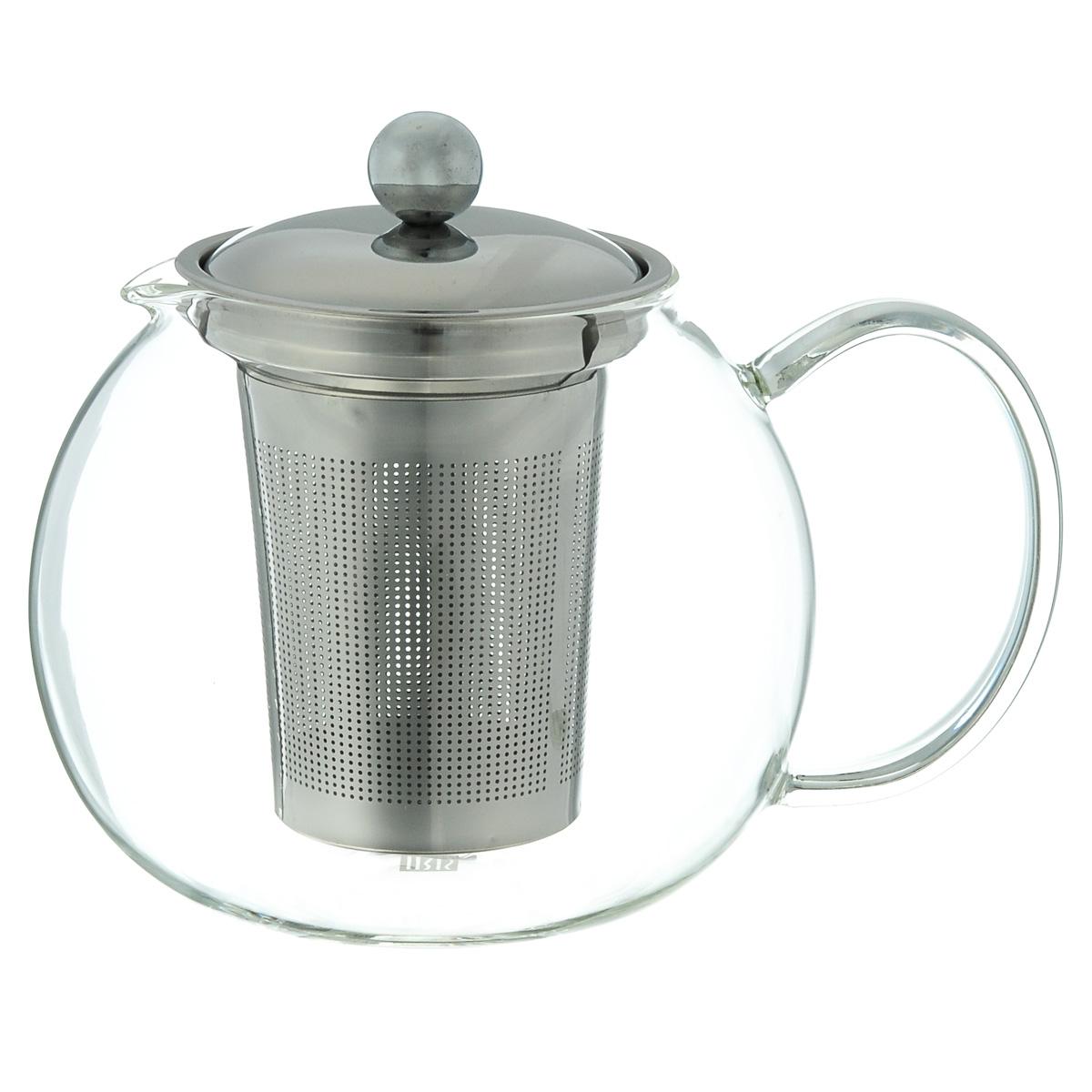 Чайник заварочный Iris Barcelona, 1,3 л3323-IЗаварочный чайник Iris Barcelona изготовлен из боросиликатного стекла, которое отличается прочностью и устойчивостью к высоким температурам. Чайник оснащен крышкой и ситечком, выполненным из нержавеющей стали 18/8. Чайник предназначен для заварки 6 чашек чая. Можно мыть в посудомоечной машине. Объем: 1,3 л. Диаметр (по верхнему краю): 9 см. Высота (без учета крышки): 12,5 см.