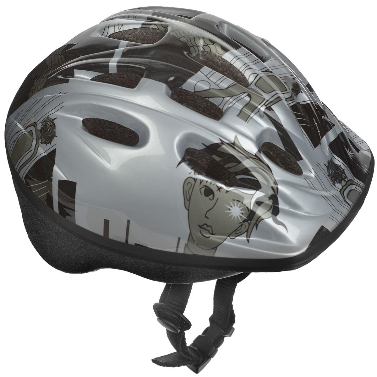 Шлем защитный Action, цвет: серый. Размер XS (48-51). PWH-30SF 0085Шлем Action послужит отличной защитой для ребенка во время катания на роликах или велосипеде. Он выполнен из плотного вспененного пенопласта, покрытого пластиковой пленкой и отлично сидит на голове, благодаря мягким вставкам на внутренней стороне. Шлем снабжен системой вентиляции и крепится при помощи удобного регулируемого ремня с пластиковым карабином, застегивающимся на подбородке.