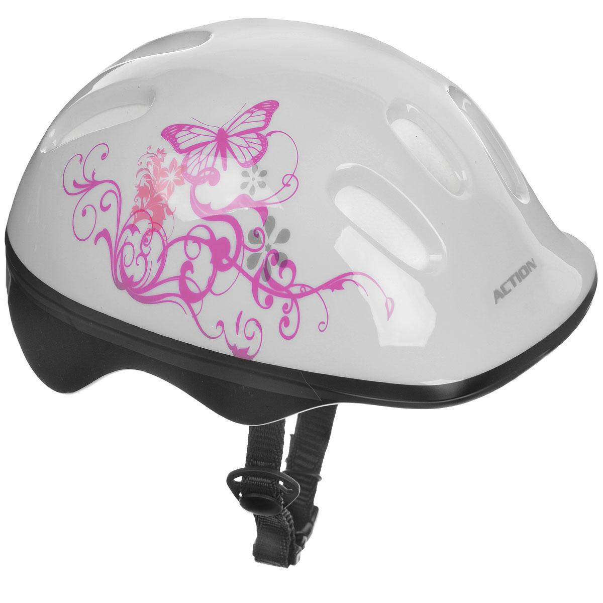 Шлем защитный Action, цвет: белый, розовый. Размер XS (48-51). PWH-10PWH-10Шлем Action послужит отличной защитой для ребенка во время катания на роликах или велосипеде. Он выполнен из плотного вспененного пенопласта, покрытого пластиковой пленкой и отлично сидит на голове, благодаря мягким вставкам на внутренней стороне. Шлем снабжен системой вентиляции и крепится при помощи удобного регулируемого ремня с пластиковым карабином, застегивающимся на подбородке.