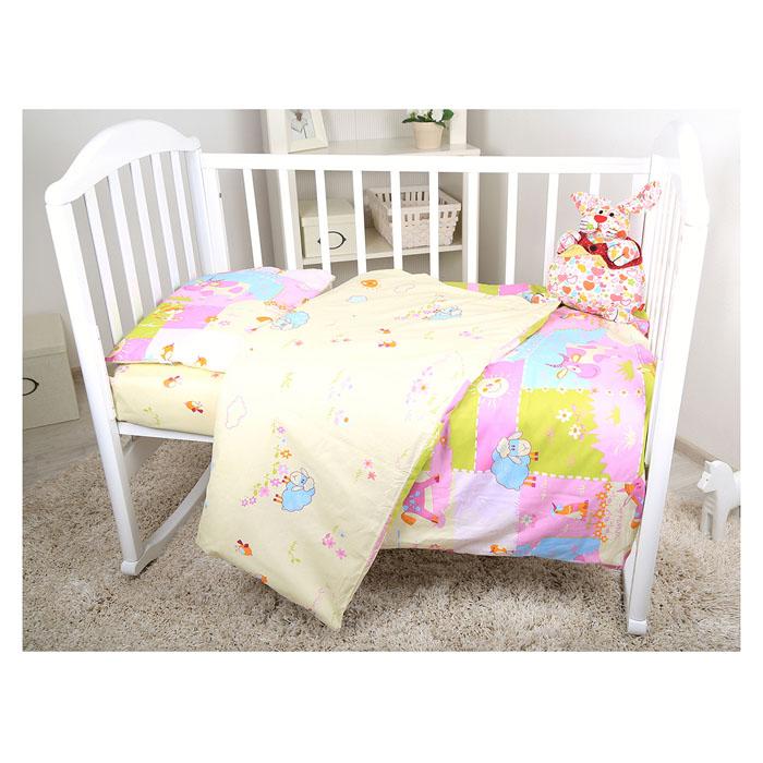 Комплект детского постельного белья Baby Nice Ферма, цвет: розовый, 3 предметаВ 40010Детский комплект постельного белья Baby Nice Ферма состоит из наволочки, пододеяльника и простыни на резинке. Такой комплект идеально подойдет для кроватки вашего малыша и обеспечит ему здоровый сон. Он изготовлен из натурального 100% хлопка, дарящего малышу непревзойденную мягкость. Натуральный материал не раздражает даже самую нежную и чувствительную кожу ребенка, обеспечивая ему наибольший комфорт. Простыня с помощью специальной резинки растягивается на матрасе. Она не сомнется и не скомкается, как бы не вертелся ребенок. Приятный рисунок комплекта, несомненно, понравится малышу и привлечет его внимание. На постельном белье Baby Nice Ферма ваша кроха будет спать здоровым и крепким сном.