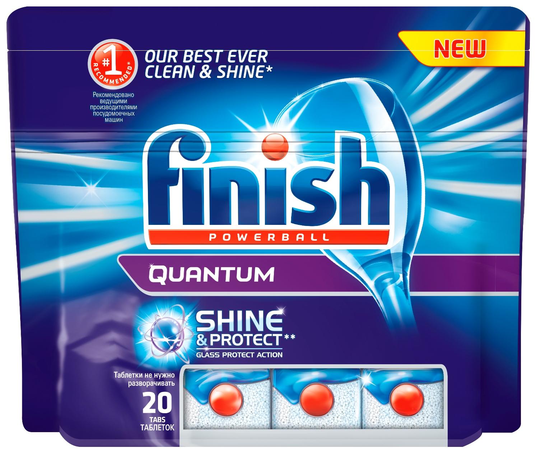 Finish Quantum Блеск и Защита, 20 таблеток269036Новый Finish Quantum Блеск и Защита - это удобные таблетки для посудомоечной машины, которые оказывают тройное действие против жира и грязи, а также придают исключительный блеск и защищают стеклянную посуду от коррозии. Товар сертифицирован.