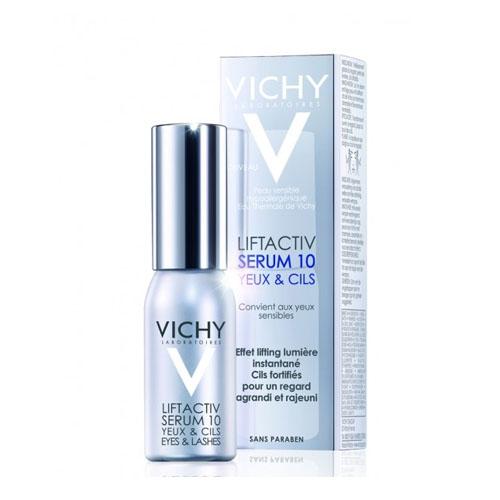 Vichy Сыворотка 10 Глаза & Ресницы Liftactiv Дерморесурс, 15 млM5878300Первая антивозрастная сыворотка от Vichy для кожи вокруг глаз укрепляющая ресницы сокращает морщины и осветляет кожу вокруг глаз.Ваш взгляд становиться моложе и выразительнее.День за днем укрепляет ресницы, увеличивая их густоту за 1 месяц на 42%. Содержит Рамнозу 10%, Керамиды, Гиалуроновую кислоту и светоотражающие частицы. Рамноза запатентованная инновационная молекула растительного происхождения в максимальной 10%-ой концентрации прицельно воздействует на ресурс молодости кожи - Дерморесурс, возобновляя его активность и омолаживая все слои кожи. При возрастных изменениях кожи вокруг конура глаз женщин 35+: морщины, темные круги, припухлости, потеря сияния, ослабленные ресницы.
