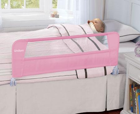 LINDAM бортик защитный для кровати на метал. каркасе с тканью 108 см Розовый