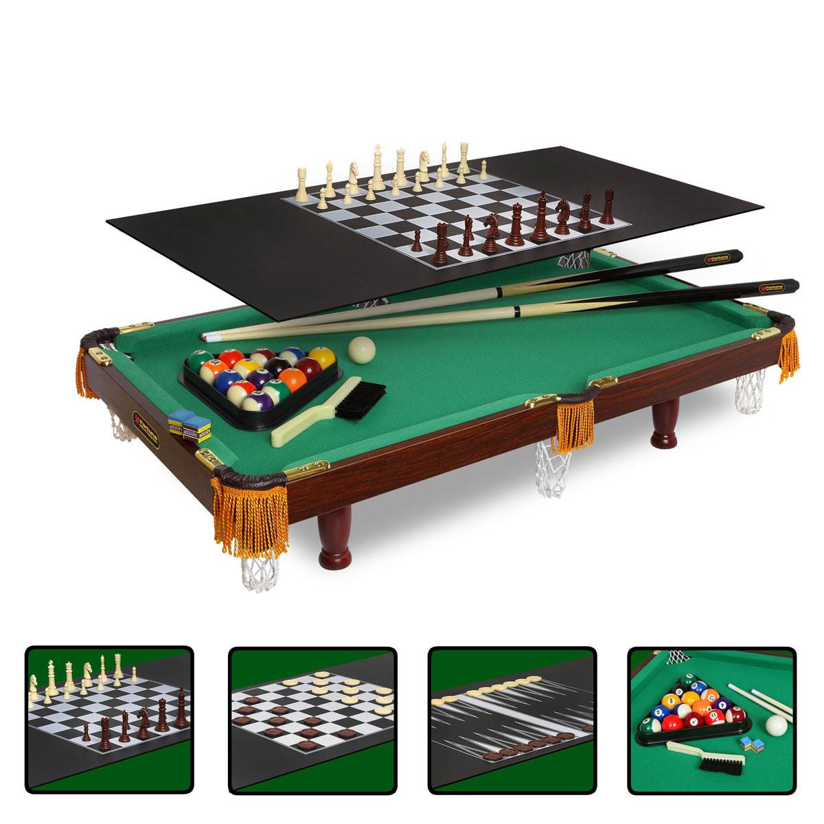 Стол бильярдный Fortuna, для американского пула, 4 в 1, 84 см х 42 см07736Бильярдный стол Fortuna - это многофункциональный игровой стол, включающий 4 игры: американский бильярд, шашки, шахматы и нарды. Основой служит бильярдный стол размером 3 фута для игры в американский пул с плитой из ЛДСП толщиной 9 мм, покрытой сукном традиционного для бильярда цвета English Green (английский зеленый). Для использования стола в качестве основы для других видов игр используется дополнительная плита толщиной 3 мм черного цвета, на которой размещается игровое поле с разметкой для соответствующей настольной игры (шашки, нарды или шахматы). Комплект аксессуаров: 1. Для игры в американский пул: Комплект шаров диаметром 32 мм (16 шт.). Треугольник для шаров. 2 кия длиной 91,44 см. 2 мелка Pioner (синие). Щетка для ухода за сукном. 2. Для игры в шашки: Игровое поле с нанесенной на него соответствующей разметкой. Шашки 2-х цветов (коричневые и белые) по 12 шт. каждого цвета (всего 24 шт.). 3. Для игры в шахматы: ...