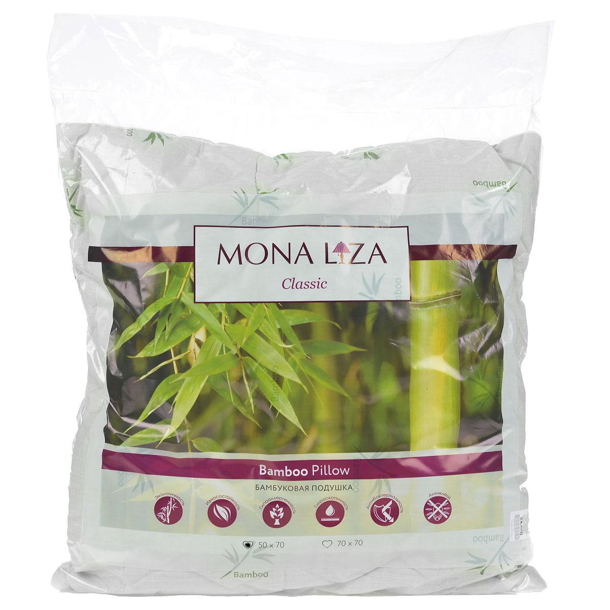 Подушка Mona Liza, цвет: белый, 50 х 70 см. 539414S03301004Подушка Mona Liza подарит вам незабываемое чувство комфорта и умиротворения. Чехол выполнен из поликоттона, украшен изображением стеблей бамбука, фигурной стежкой и кантом по краю. В качестве наполнителя используется бамбуковое волокно, которое обладает удивительным балансом различных свойств и удовлетворяет требования даже самого изысканного покупателя. Такой наполнитель сохраняет ценные свойства растения и одновременно обеспечивает легкость изделия, мягкость и долговечность. Высокосиликонизированное волокно Royalton придает изделию упругость, быстро восстанавливает форму после смятия, имеет высокую стойкость к ее сохранению с течением времени. Свойства подушки с бамбуком: - Наполнитель обладает природным свойством антибактериальности, как в природе, так и в быту это волокно не повреждается грибками, плесенью и вредителями; это свойство сохраняется при многократных стирках. - Прочность и мягкость: плотность бамбукового волокна в 2 раза выше, чем у хлопка, при этом оно сохраняет устойчивость к механическим воздействиям в сухом и мокром состоянии; в то же время оно мягче хлопка, сходно по структуре с шелком. - Обладает активным влагопоглощением, не рекомендуется для использования в климатических зонах и отдельных помещениях с повышенной влажностью, людям с повышенной влажностью тела. - Не удерживает посторонние запахи, является природным дезодорантом. - Практически не содержит примесей вредных химических соединений, потому что производится путем дробления стебля, обработки его паром и биоферментами. Подушка проста в уходе, подходит для машинной стирки, быстро сохнет. Материал чехла: ткань (50% хлопок, 50% полиэстер), пласт (35% бамбук, 65% полиэстер). Наполнитель: 100% полиэстер.