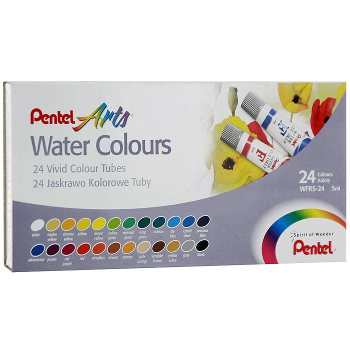 Акварель Pentel Water Colours, 24 цветаWFRS-24Акварельные краски Pentel Water Colours помогут воплотить в жизнь любые художественные замыслы на занятиях в школах, детских садах, художественных кружках или дома. Яркие насыщенные цвета делают процесс рисования более увлекательным. В набор входят краски 24 цветов в пластиковых тубах. Краски не выгорают, не трескаются при высыхании, легко смешиваются и легко выдавливаются из пластиковой тубы. Кисточка в комплект не входит. Количество цветов: 24.