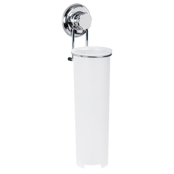 Держатель для ватных дисков Tatkraft Mega Lock, высота 34,5 см11472Держатель для ватных дисков Tatkraft Mega Lock оснащен емкостью из белого пластика, которая крепится на подставку из хромированной стали. Емкость оснащена крышкой сверху и отверстием снизу, откуда можно доставать ватные диски. Держатель крепится к стене с помощью вакуумного шурупа, при установке которого не нужно использовать дрель или отвертки. Он крепится по принципу присоски: подробная инструкция по установке представлена на обратной стороне упаковки. Характеристики: Материал: пластик, хромированная сталь. Высота держателя: 34,5 см. Диаметр по верхнему краю: 8,5 см. Диаметр по нижнему краю: 6,5 см. Размер упаковки: 14,5 см х 41 см х 10 см. Артикул: 11472.