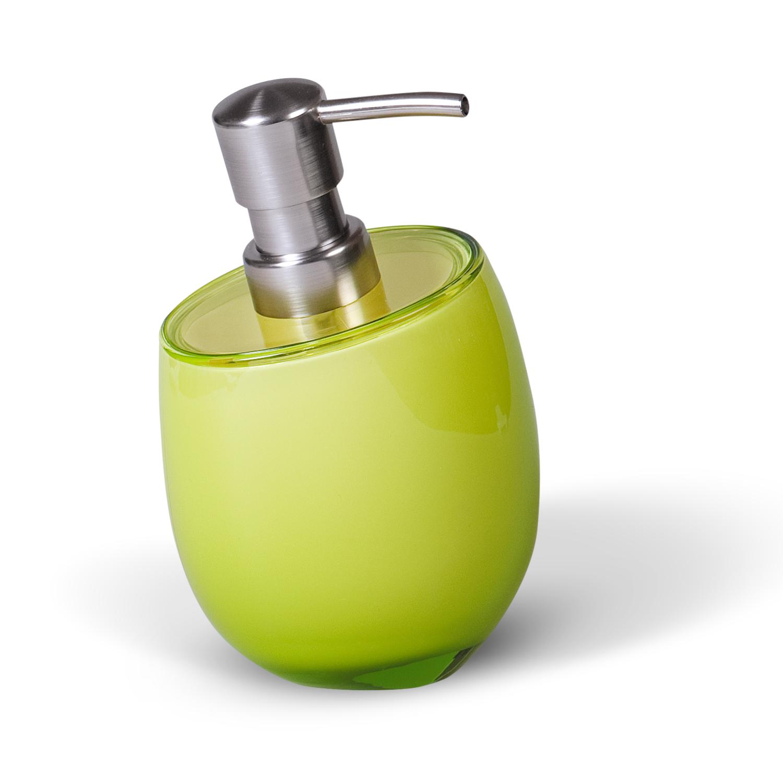 Дозатор для жидкого мыла Immanuel Repose Green, цвет: салатовый. 1232512325Дозатор для жидкого мыла Immanuel Repose Green изготовлен из акрила салатового цвета. Такой аксессуар очень удобен в использовании: достаточно лишь перелить жидкое мыло в дозатор, а когда необходимо использование мыла, легким нажатием выдавить нужное количество. Дозатор Immanuel Repose Green станет стильным аксессуаром, который украсит интерьер ванной комнаты. Характеристики: Материал: акрил, пластик. Цвет: салатовый. Размер дозатора по верхнему краю: 9 см х 7,5 см. Высота дозатора: 15 см. Артикул: 12325.