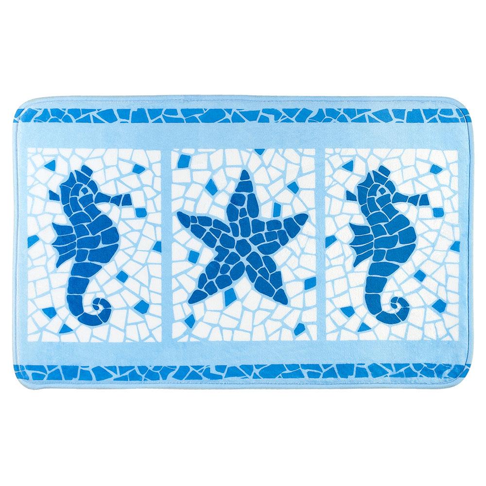 Коврик для ванной комнаты Tatkraft Marine Motifs, 50 см х 80 см14916Коврик для ванной комнаты Tatkraft Marine Motifs изготовлен из микрофибры Ultra Soft - мягкого, приятного на ощупь материала. Коврик отлично поглощает и впитывает влагу. Основание противоскользящее. Яркий красочный рисунок, выполненный в морском стиле под мозаику, внесет оригинальную нотку в интерьер ванной комнаты. Коврики Tatkraft - прекрасное решение для ванной комнаты.