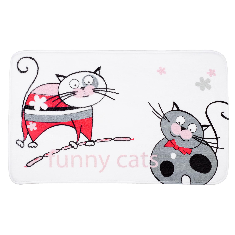Коврик для ванной комнаты Tatkraft Funny Cats, 50 х 80 см14930Коврик для ванной комнаты Tatkraft Funny Cats изготовлен из микрофибры - мягкого приятного на ощупь материала. Коврик отлично поглощает и впитывает влагу. Основание противоскользящее. Яркий красочный рисунок в виде забавных котов с сосисками внесет оригинальную нотку в интерьер ванной комнаты. Коврики Tatkraft - прекрасное решение для ванной комнаты.