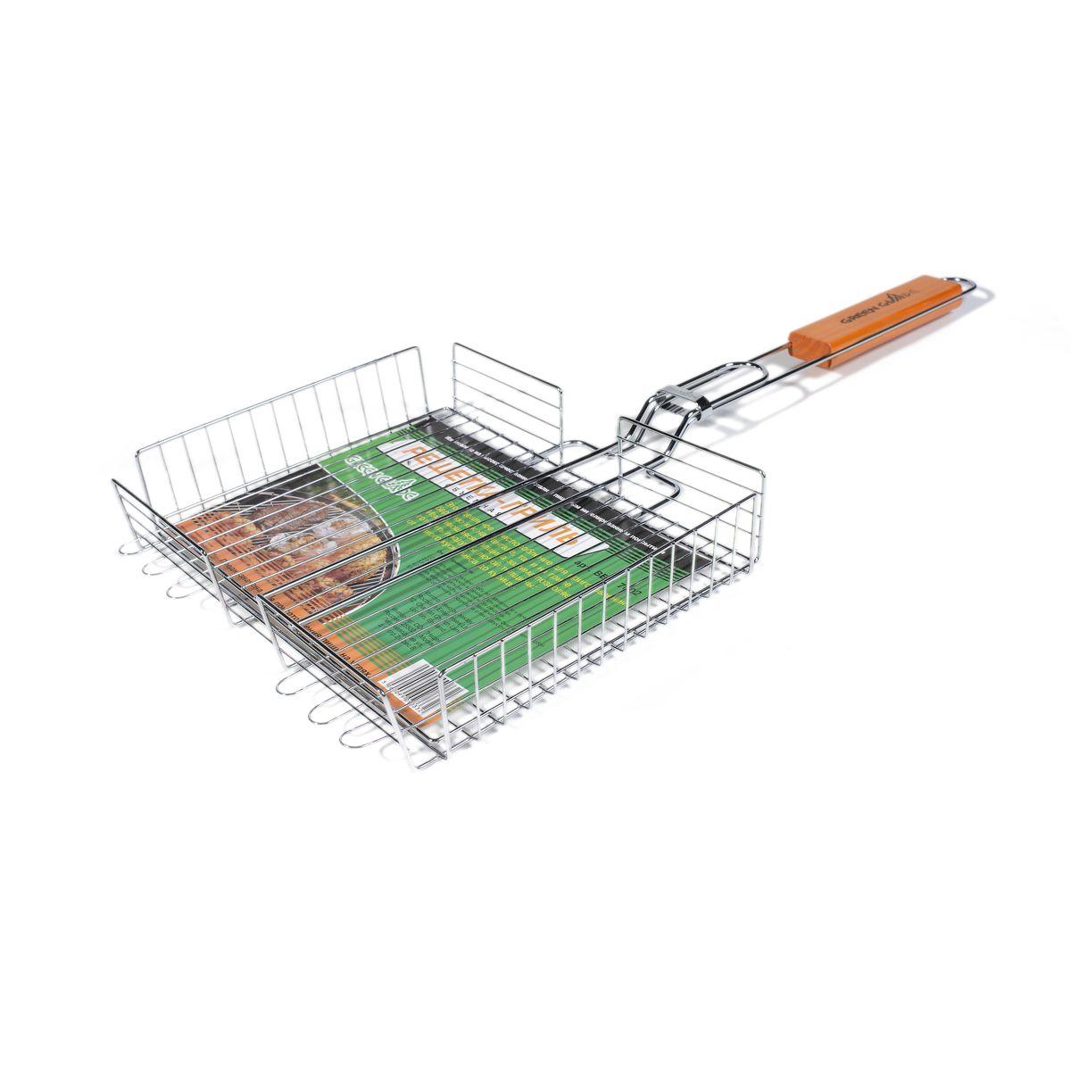 Решетка-гриль Green Glade, объемная, 31 х 25 смGESS-306Двойная объемная решетка-гриль Green Glade изготовлена из высококачественной нержавеющей стали с пищевым никелированным покрытием. Это идеальное приспособление для приготовления барбекю как на мангале, так и на гриле. На решетке удобно размещать стейки, ребрышки, сосиски и т.д. Изменяющаяся толщина зажима позволяет готовить продукты любой толщины: от тонкого куска мяса до курицы. Предназначена для приготовления пищи на углях. Блюда получаются сочными, ароматными, с аппетитной специфической корочкой. Рукоятка изделия оснащена деревянной вставкой и фиксирующей скобой, которая зажимает створки решетки. Размер рабочей поверхности решетки: 31 см х 25 см. Общая длина решетки (с ручкой): 65 см. Высота стенки решетки: 5,5 см.