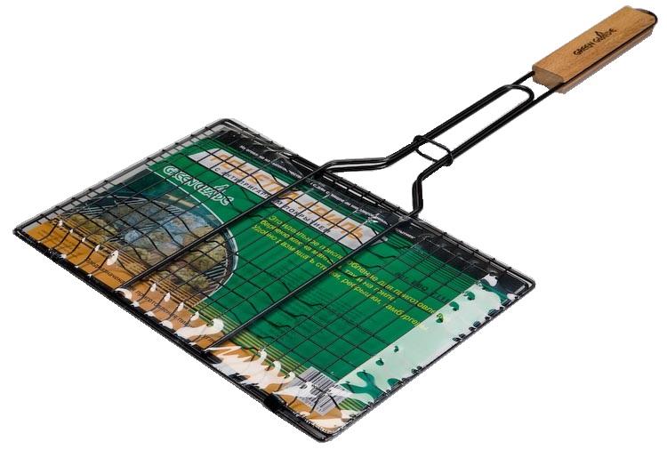 Решетка-гриль Green Glade, с антипригарным покрытием, 35 см х 23 см7111Двойная решетка-гриль Green Glade изготовлена из высококачественной стали с антипригарным покрытием. Это идеальное приспособление для приготовления барбекю как на мангале, так и на гриле. На решетке удобно размещать стейки, ребрышки, гамбургеры, сосиски и т.д. Предназначена для приготовления пищи на углях. Блюда получаются сочными, ароматными, с аппетитной специфической корочкой. Рукоятка изделия оснащена деревянной вставкой и фиксирующей скобой, которая зажимает створки решетки для удобного и безопасного хранения. Размер рабочей поверхности решетки: 35 см х 23 см. Общая длина решетки (с ручкой): 63 см.