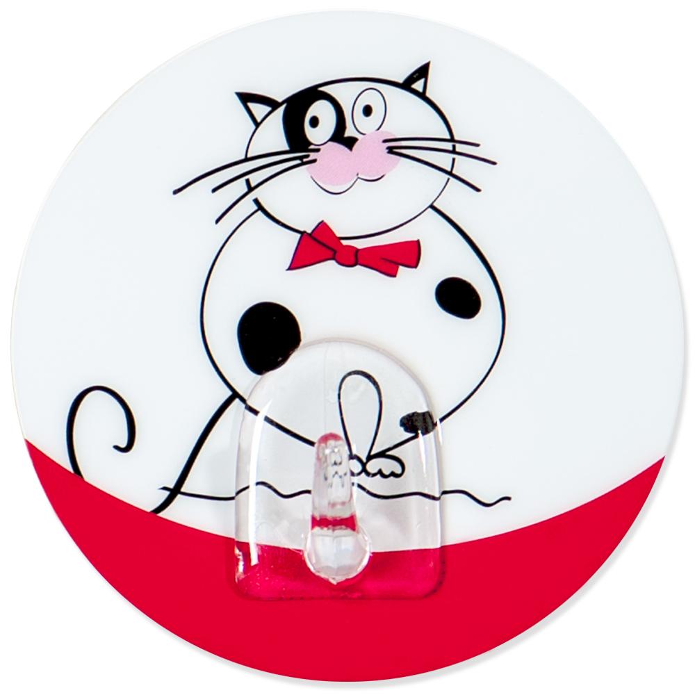 Крючок адгезивный Tatkraft Funny cats. 1821180653Крючок адгезивный Tatkraft Funny cats изготовлен из пластика и декорирован изображением кота. Крючок может быть установлен только на ровной воздухонепроницаемой поверхности: плитка, стекло, пластик, металл, ламинированное дерево и другие. Крючок является многоразовым, что позволяет перевесить его в любое удобное место. Крючок Tatkraft Funny cats имеет авторский дизайн, который украсит любой интерьер. Диаметр: 8 см. Длина крючка: 1,5 см.Максимальный вес: 3 кг.